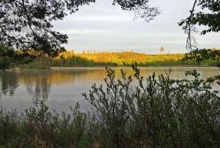 Började med att gå ner till sjön och titta på hur solens strålar lyser upp skogen på andra sidan...