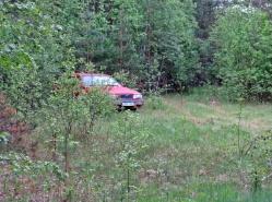 Hittade en annan stig ... följde den en liten bit tills jag fick syn på den röda bilen. Kändes lite obehaglig där mitt ute i ingenstans.