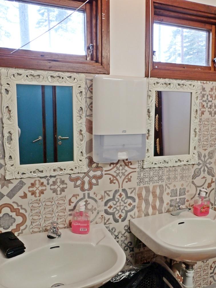 Inne vid toaletterna har det blivit inbjudande och fint!