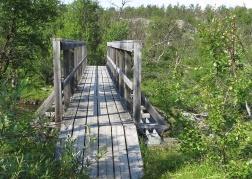 Hittade en liten bro över till en ö i älven.