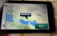 Fel koordinater ... Vår GPS lurade oss till fel sida av sjön.