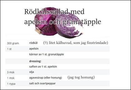 Det står inte i receptet, men jag har även två rårivna äpplen i salladen!