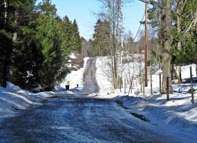 Vägen mot Vånga ... isen börjar smälta ...