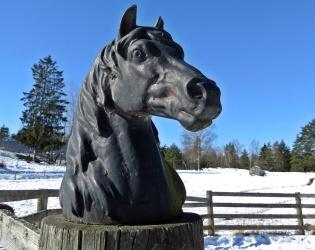 Går förbi rundpaddocken med de vackra svarta hästhuvudena på grindstolparna ...