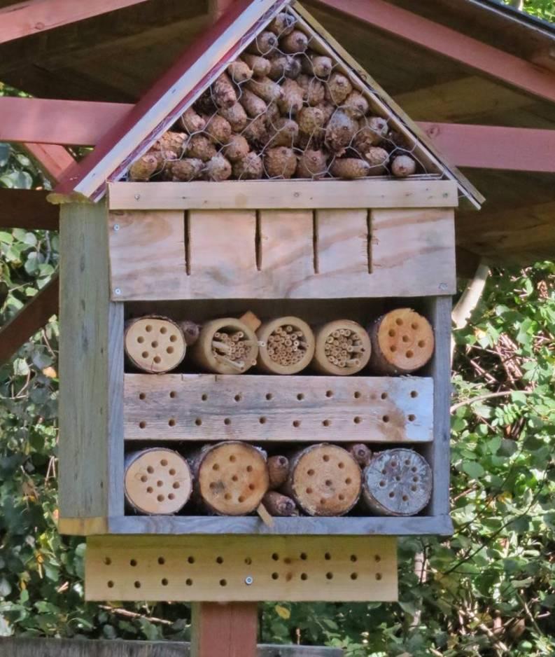 Flera såna här fina insektshotell finns det här.