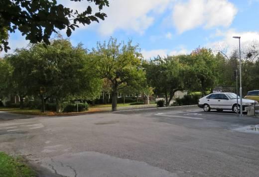 Där vid de lummiga träden, där fanns förr en fin damm med guldfiskar och bakom den bredde Ljuraparken ut sig ... nu finns har en förskola ... och hur det ser ut i parken får jag kolla en annan dag.