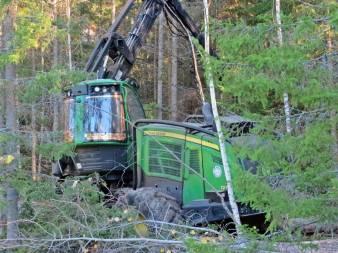 ... och skördaren forsätter sitt jobb i en annan del av skogen.