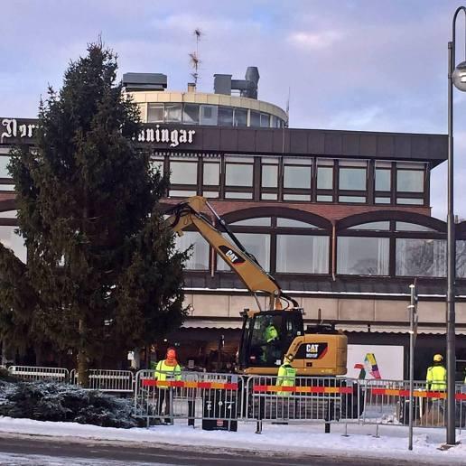 Julgransplundring på Bergslagstorget ...