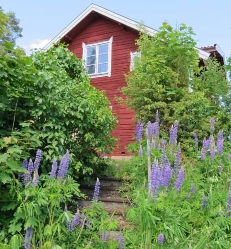 Huset närmast ställplatsen är ett av dem som renoveras ...