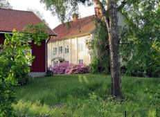 På andra sidan fick jag syn på ett stort vitt hus med vackert blommande rhododenron ... det var den gamla prästgården, fick jag veta av en vänlig dam som var ute med sin hund.
