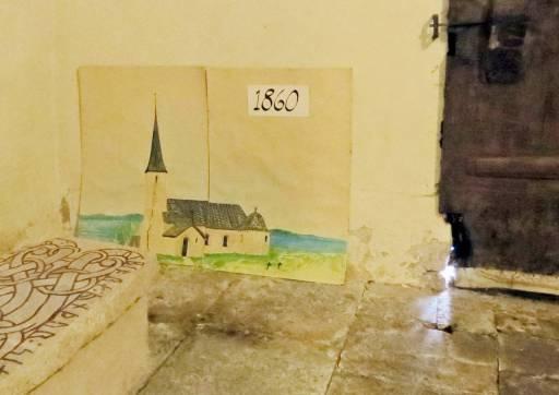 En tavla från 1860 som visar hur kyrkan såg ut - då hade den ett torn!